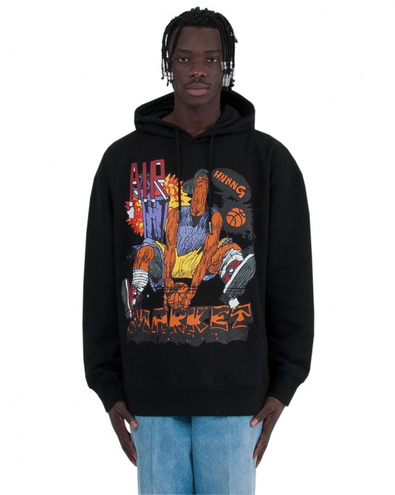 Deep Pile Kanga Hoodie- Black