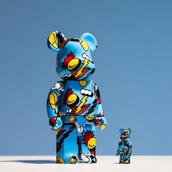 Special Release: @medicom_toy has partnered with @grafflex for a patterned BE@RBRICK in 100% and 400% that features his colorful artwork with signature bold lines. Hit the link in bio to shop now. #raphael1966 #medicomtoy